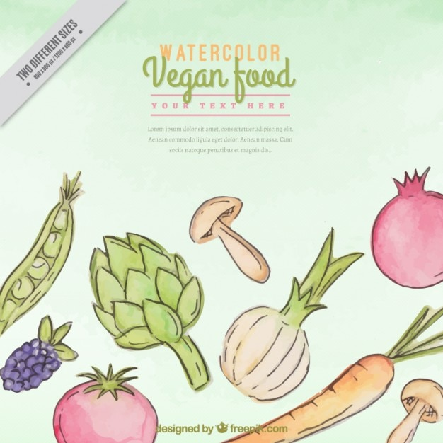 Hand painted healthy food background with ingredients