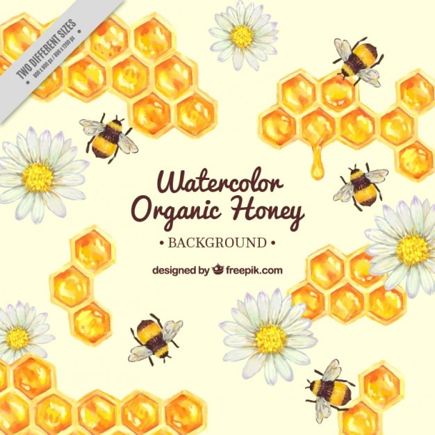 Hand Painted Honeycomb With Bees Background Vector Free