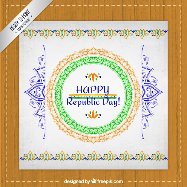Hand painted india republic day greeting card vector premium download hand painted india republic day greeting card premium vector m4hsunfo