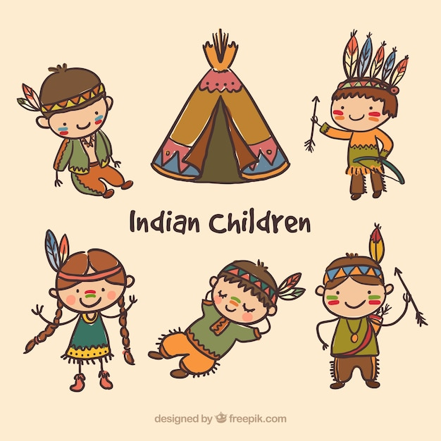Hand painted indian children pack