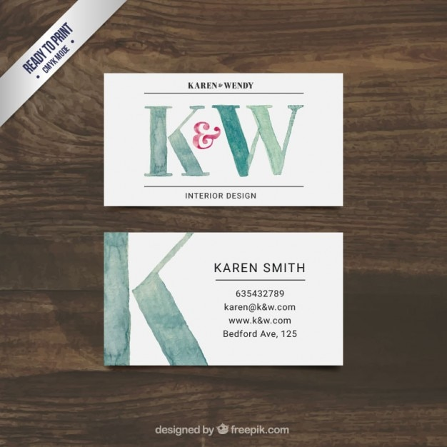 Hand Painted Interior Design Business Card Vector Free