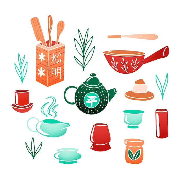 Hand painted japanese tea set Free Vector