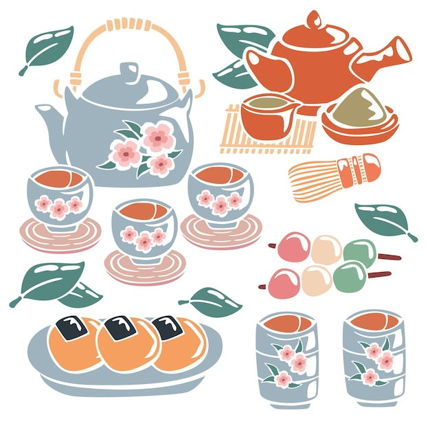 Hand painted japanese tea set Free Vector