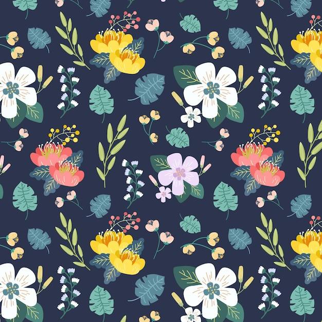 손으로 그린 나뭇잎과 이국적인 꽃 패턴 무료 벡터