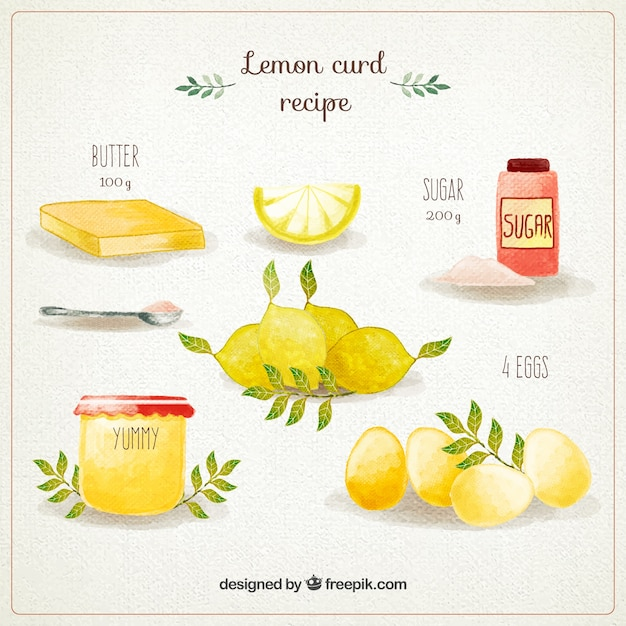 Hand painted lemon curd recipe Free Vector