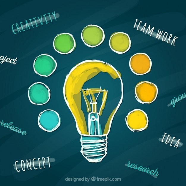 Hand Painted Light Bulb Free Vector