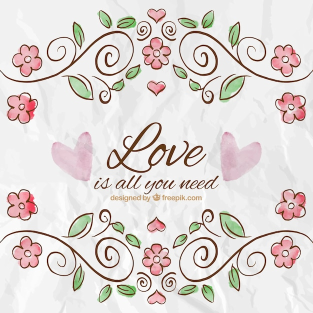 free vector  hand painted love card in floral style