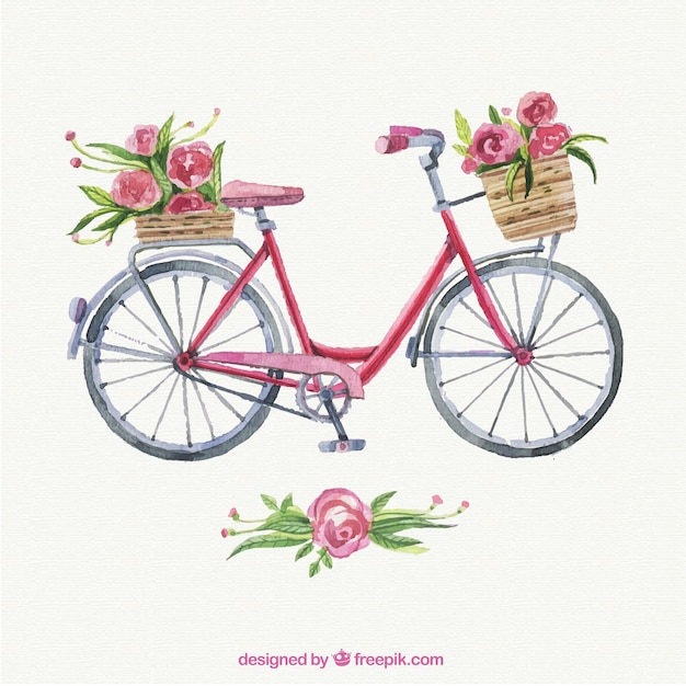 Hand painted lovely bike Free Vector