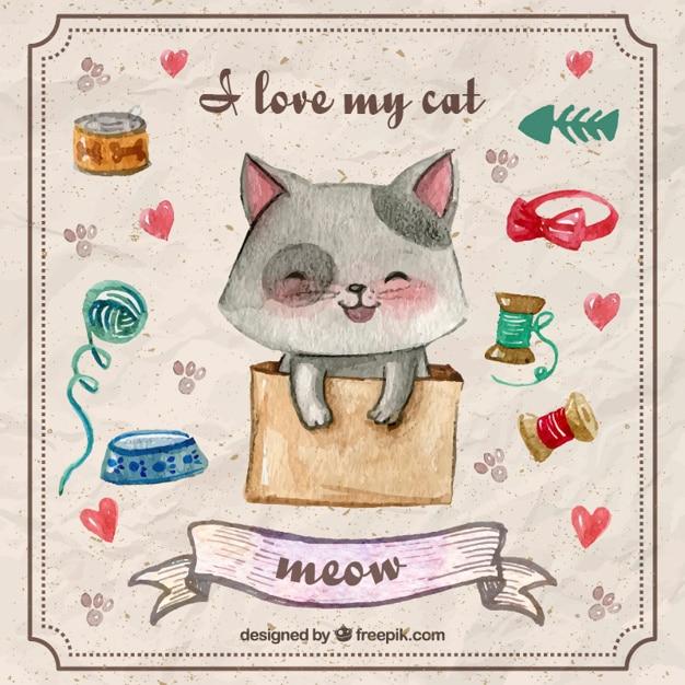 دست نقاشی بچه گربه دوست داشتنی با عناصر حیوان خانگی