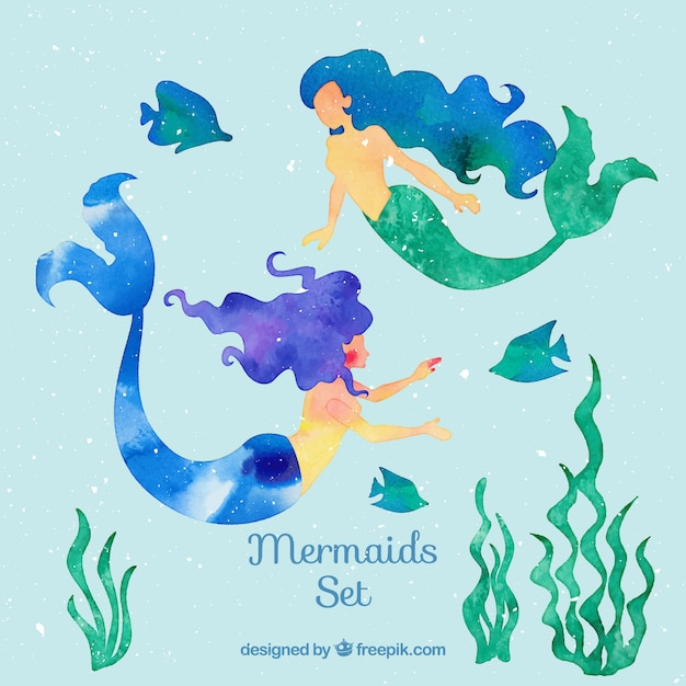 Hand painted mermaids with fishes and seaweeds Free Vector