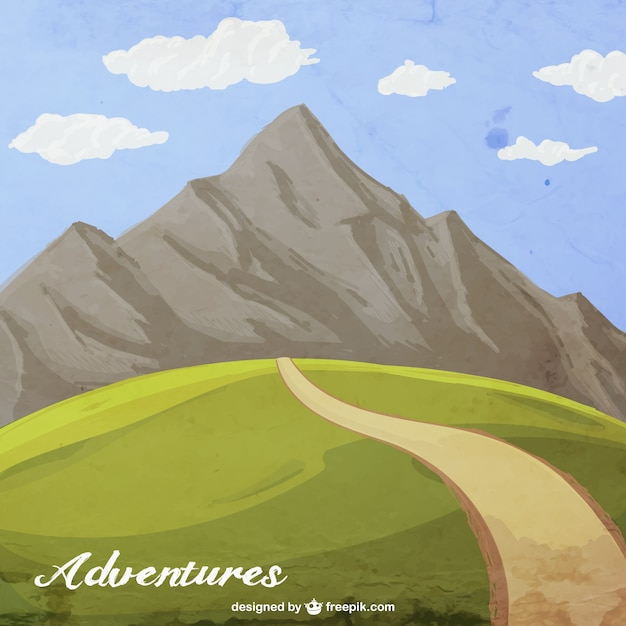Hand painted mountain adventure