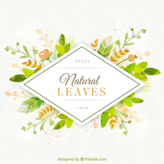 Hand painted natural leaves background Free Vector
