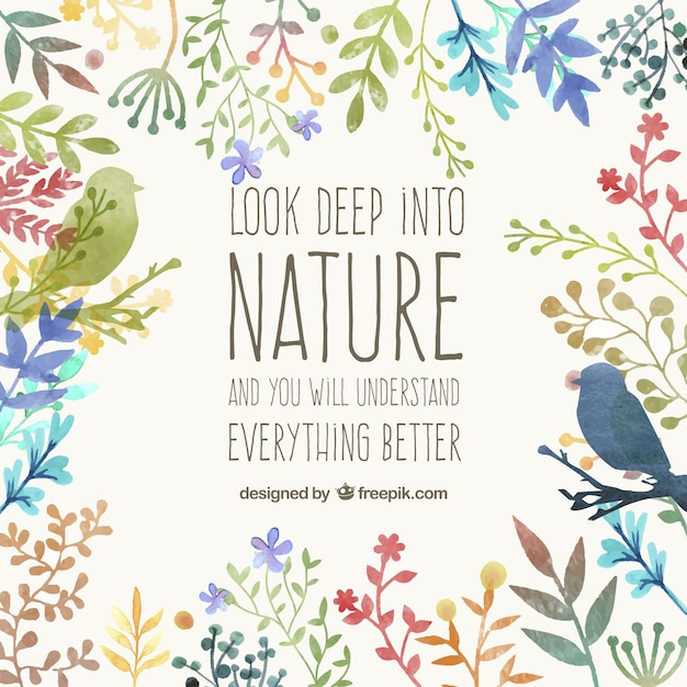 Hand painted nature card Free Vector