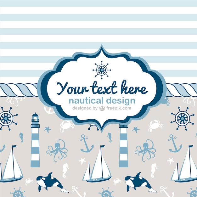 Hand painted nautical cards Free Vector