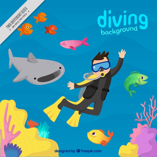 Hand painted nice diving background Free Vector