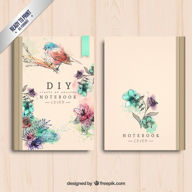 Book Cover Freepik : Hand painted notebook cover vector free download