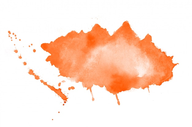 Hand painted orange watercolor stain texture background Free Vector