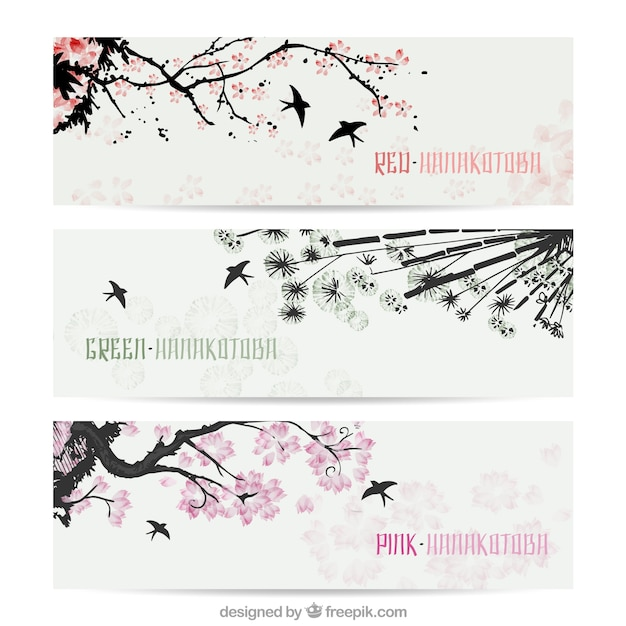 Hand painted oriental banners in japanese style Free Vector