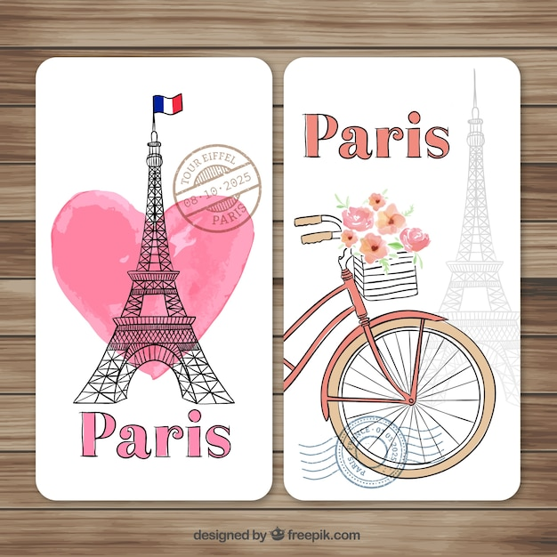 Hand painted paris cards Free Vector