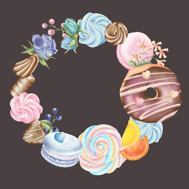 Hand painted pencil set of wreath with sweets Premium Vector