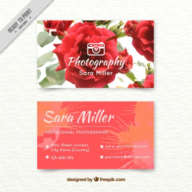 Hand painted photographer card with watercolor roses Free Vector