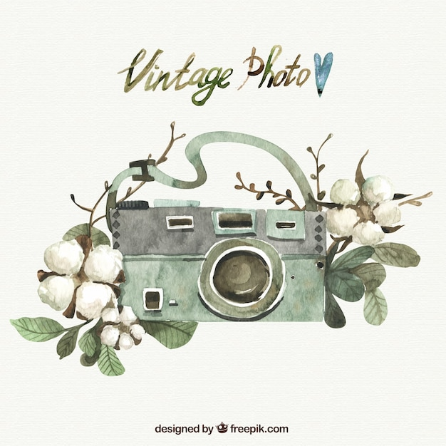 Hand painted photography camera and flowers Free Vector
