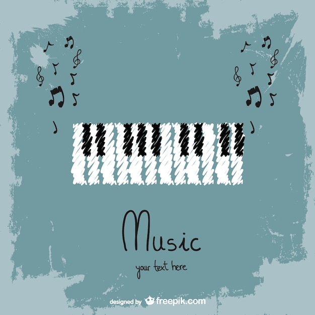 Hand painted piano and music notes Free Vector