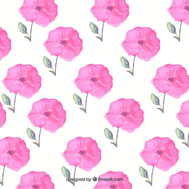 Hand painted pink flowers background
