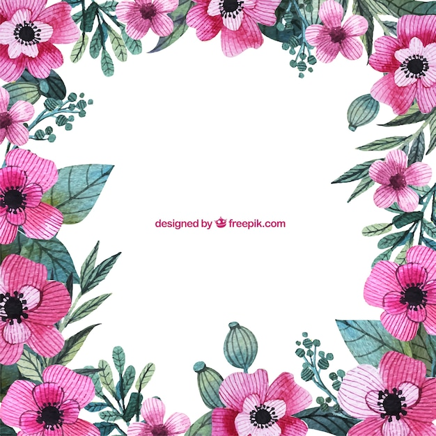 Hand painted pink flowers frame