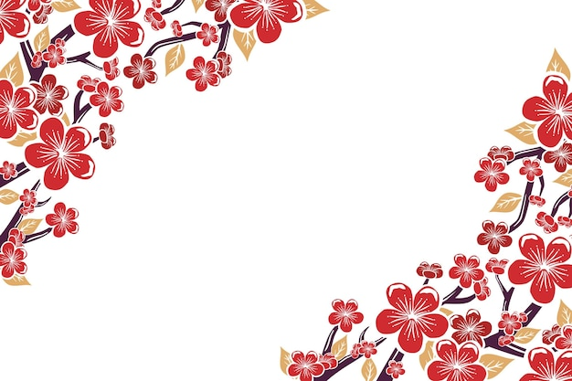 Hand painted pink plum blossom background copy space Free Vector
