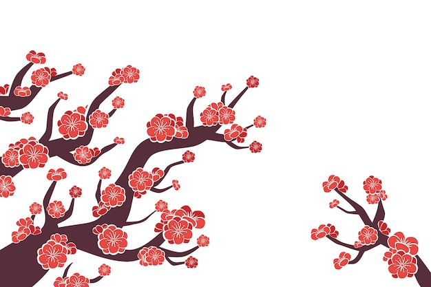 Hand painted pink plum blossom background Free Vector