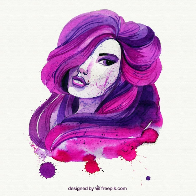 Hand painted pink and purple lady Free Vector