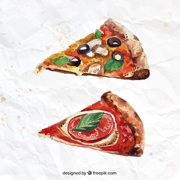 hand painted pizza slices vector free download
