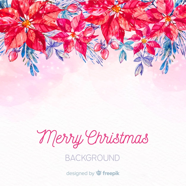 Hand painted poinsettia christmas background Free Vector