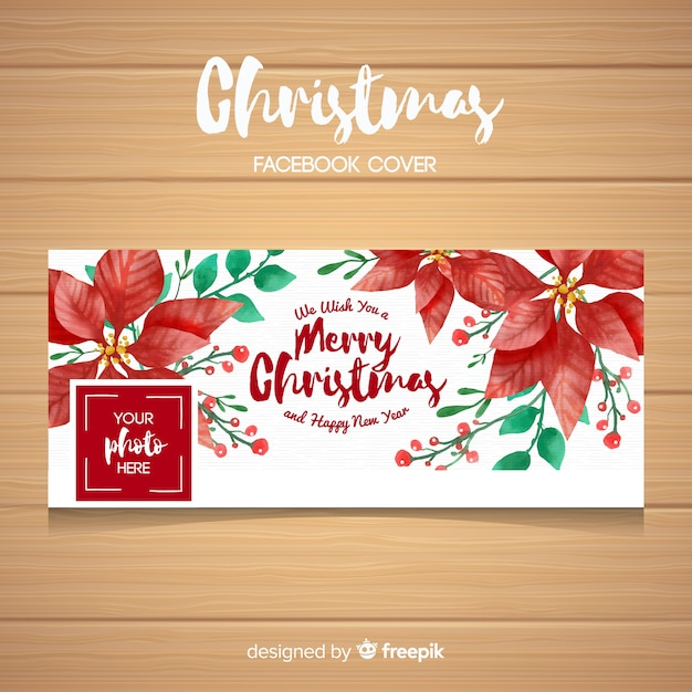 Hand painted poinsettia christmas facebook cover Free Vector