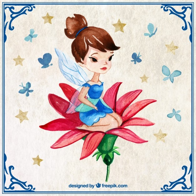 Hand painted pretty fairy in a red flower Free Vector