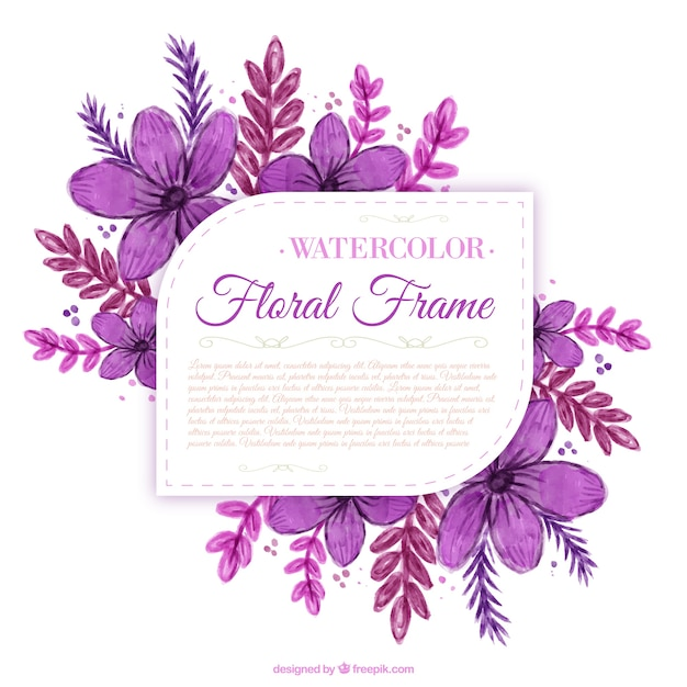 Hand painted purple flowers label