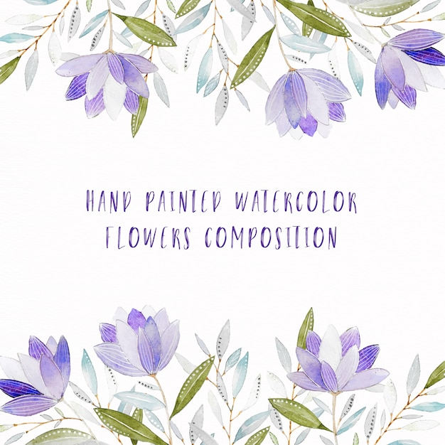 Hand Painted Purple Watercolor Floral Composition Free Vector