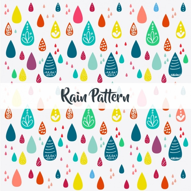 Hand painted rain pattern Free Vector