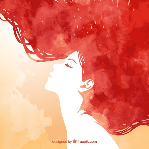 hand painted redhead woman Free Vector