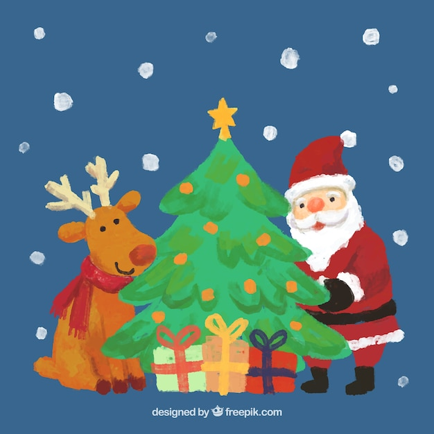 hand painted reindeer santa claus and a christmas tree free vector