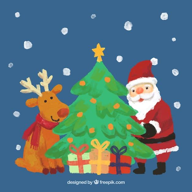 Albero Di Natale E Babbo Natale.Mano Dipinta Renna Babbo Natale E Un Albero Di Natale Vettore Gratis