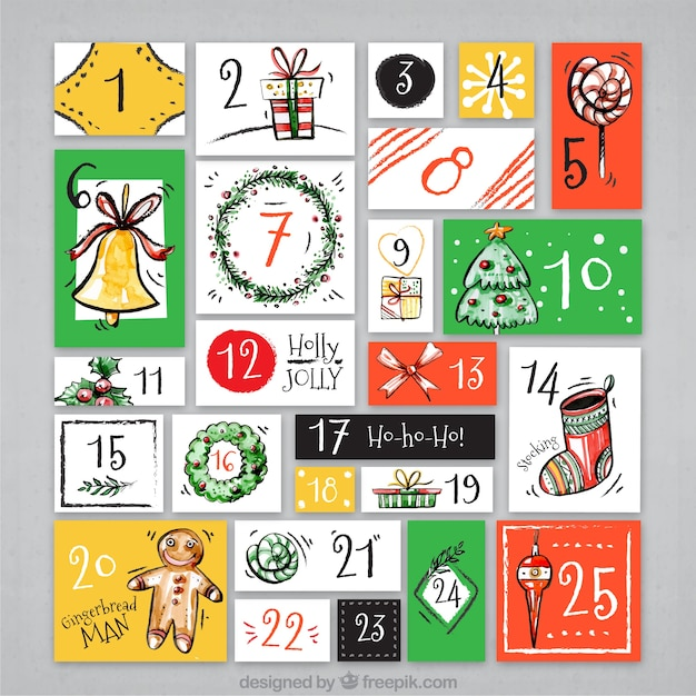 Hand painted retro advent calendar