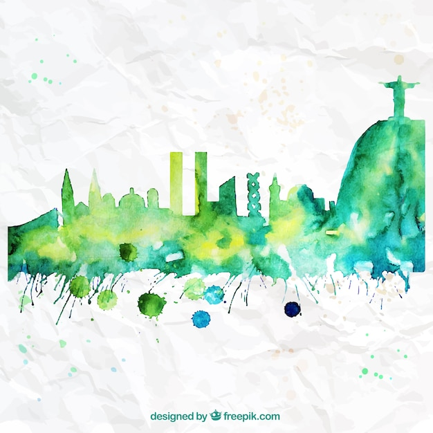 Hand Painted Rio De Janeiro Skyline Free Vector