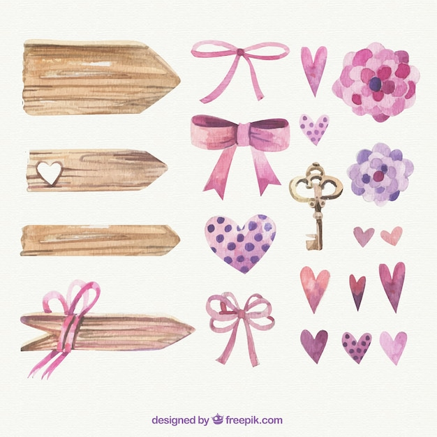Hand painted romantic elements Free Vector