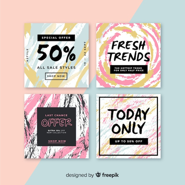 Hand painted sale instagram post collection Free Vector
