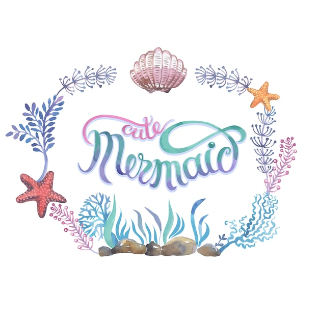 Hand painted seashells for beautiful invitation design, greeting cards, posters and bags. Premium Vector