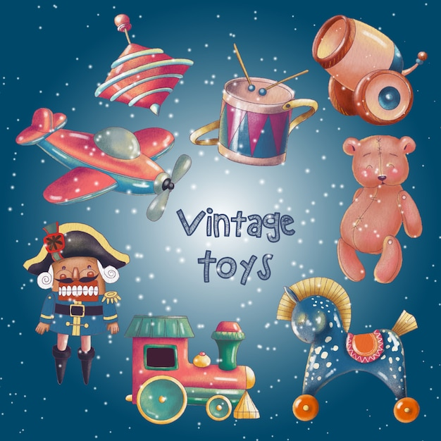 Hand painted set of cute retro toys Premium Vector