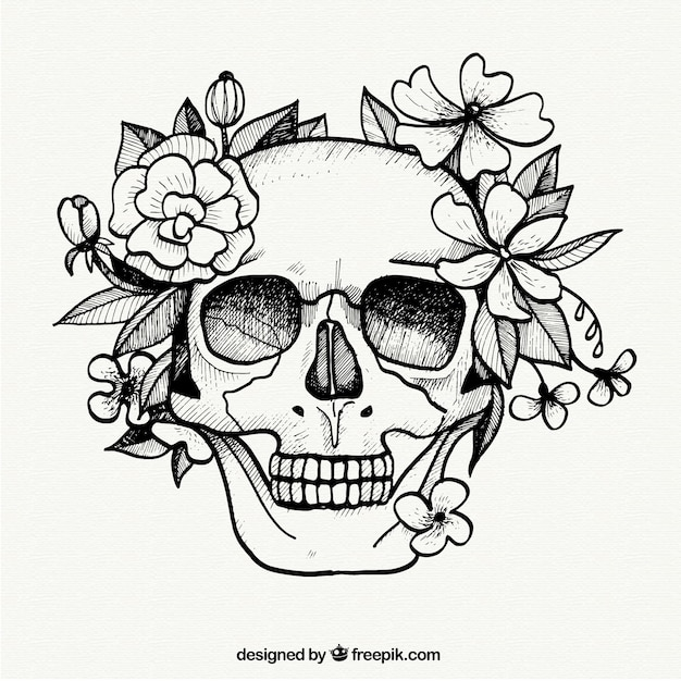 Skull Coloring Pages With Flowers On It