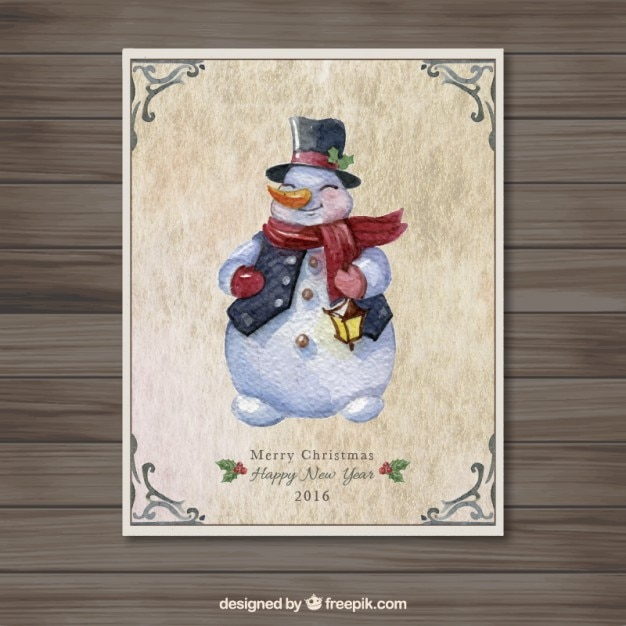 Hand painted snowman card vector free download for How to paint snowmen